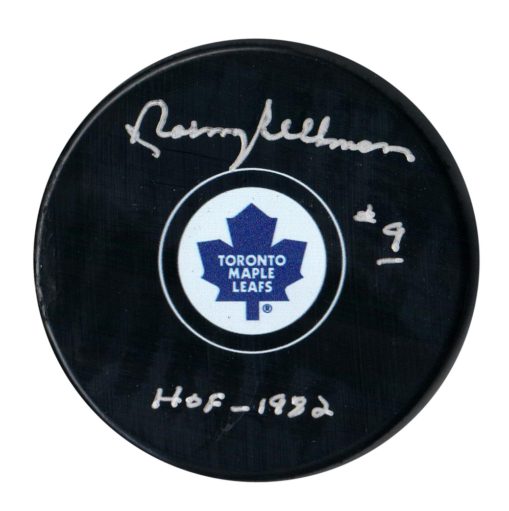 Norm Ullman Signed Puck Toronto Maple Leafs Inscr. HOF 1982