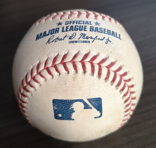 Photo of Authenticated Game Used Baseball: Strikeout by T.J. Zeuch against Aaron Judge (Sept 15, 19 vs NYY). Top 5. Zeuch recorded his 1st MLB Win in the Game.
