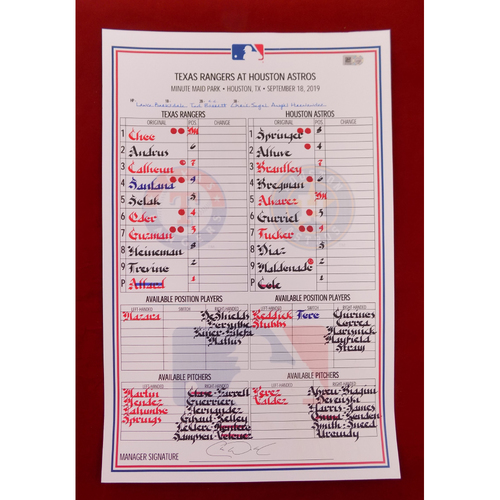 Photo of Game-Used Line-Up Card - September 18, 2019 - Texas Rangers @ Houston Astros