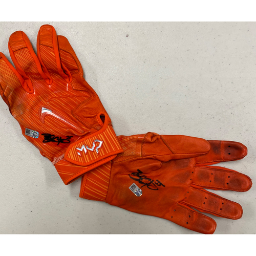Photo of 2020 Black Friday Sale - #35 Brandon Crawford Autographed Orange Nike Batting Gloves