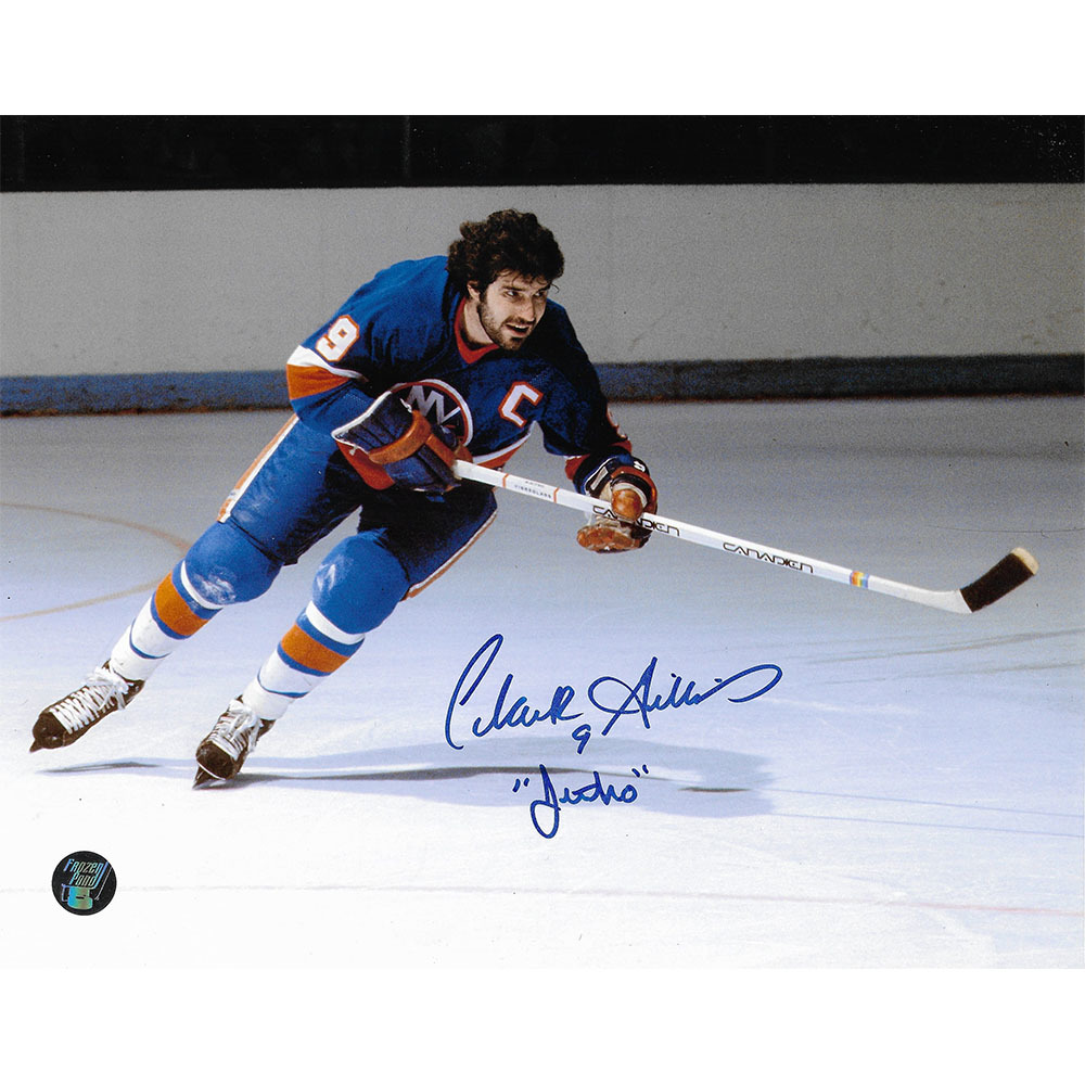 Clark Gillies Autographed New York Islanders 8X10 Photo w/JETHRO Inscription