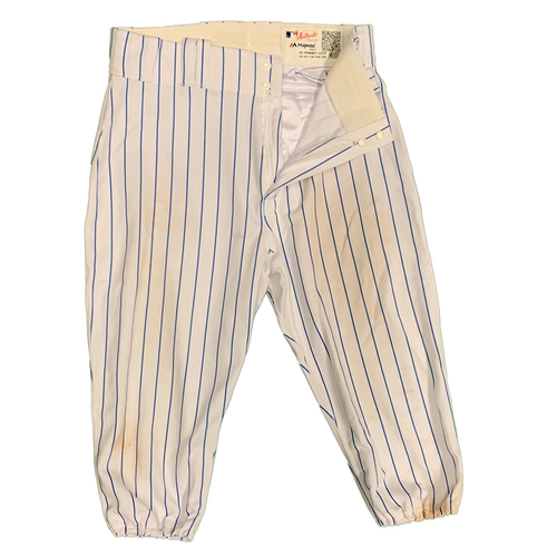 Photo of Brandon Nimmo #9 - Team Issued White Pinstripe Pants - 2021 Season