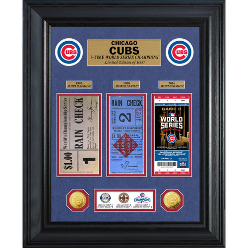 Serial #1! Chicago Cubs 3-Time World Series Champions Gold Coin & Ticket Collection