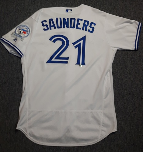 Photo of Authenticated Game Used Jersey - #21 Michael Saunders (April 8, 2016). Saunders went 2-for-5 with 1 Run. Size 48