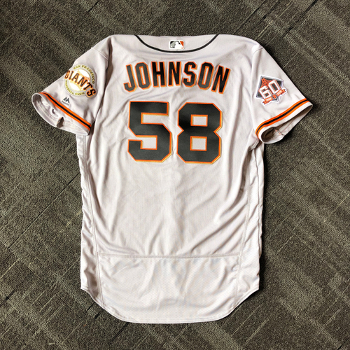 Photo of San Francisco Giants - Mother's Day Game-Used Jersey - #58 Pierce Johnson (size 46)