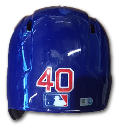 Photo of Willson Contreras Game-Used Cracked Batting Helmet -- Size 7 1/2 -- Cubs at Rockies -- 5/2/18