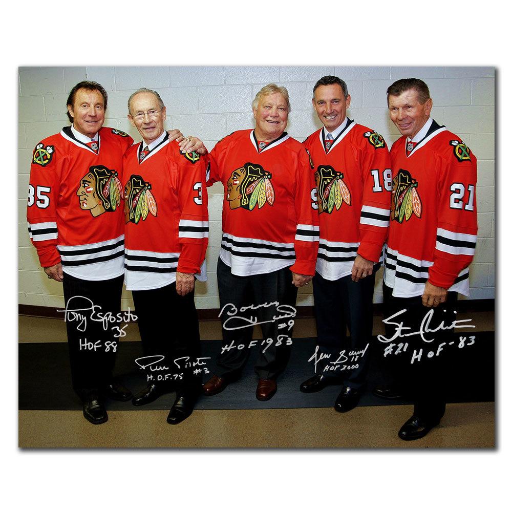 Tony Esposito, Pierre Pilote, Bobby Hull, Denis Savard & Stan Mikita Chicago Blackhawks HOF LEGENDS Autographed 16x20