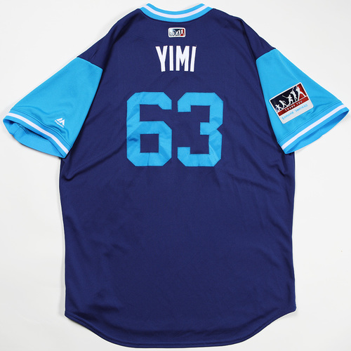 "Photo of Yimi ""Yimi"" Garcia Los Angeles Dodgers Game-Used 2018 Players' Weekend Jersey"