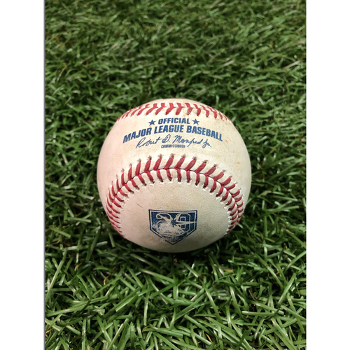 Photo of 20th Anniversary Game Used Baseball: Kole Calhoun single, Shohei Ohtani pop out and Mike Trout ball in dirt against Ryne Stanek - July 31, 2018 v LAA