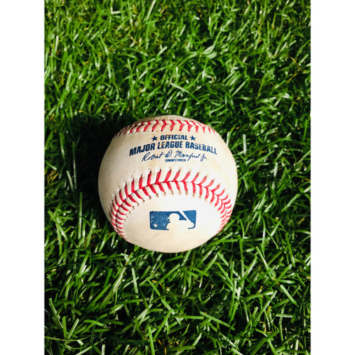 Photo of Game Used Baseball: Vladimir Guerrero Jr. single, Freddy Galvis single and Randal Grichuk foul ball off Austin Pruitt - August 5, 2019 v TOR
