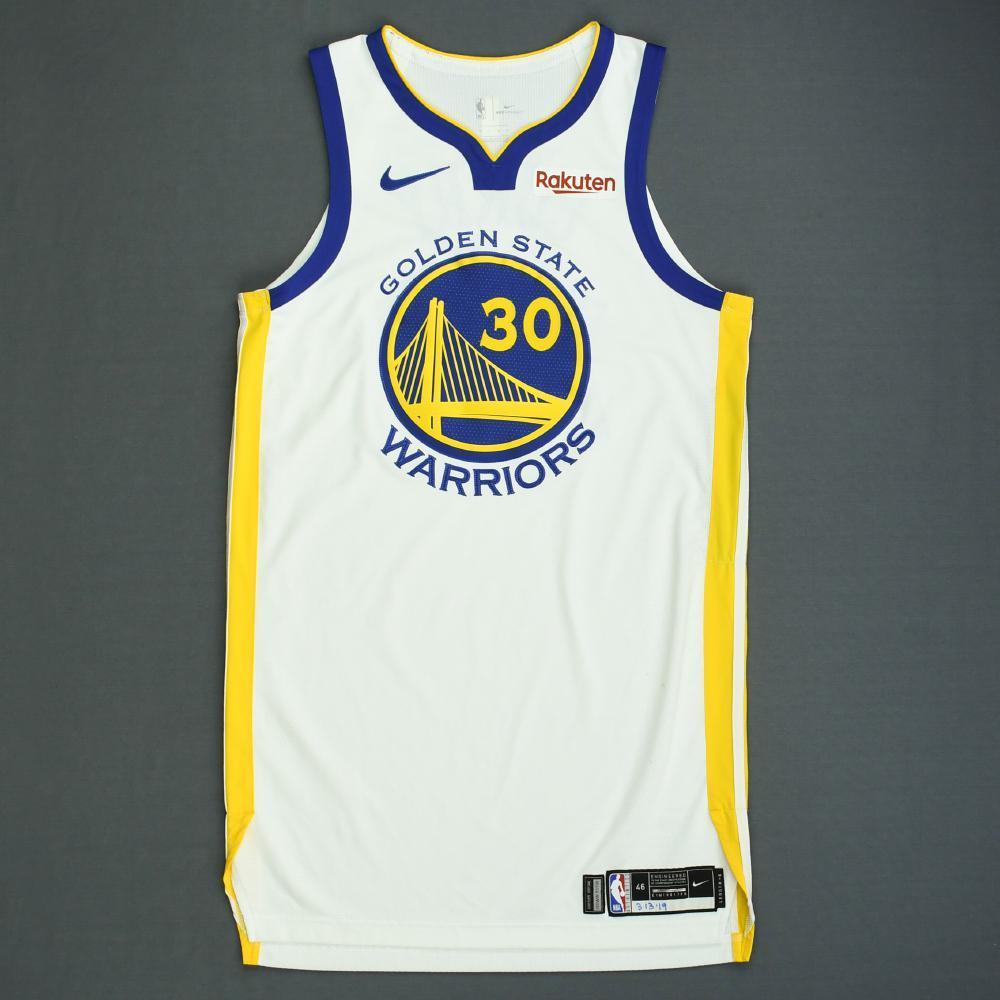 Stephen Curry - Golden State Warriors - 2018-19 NBA Season - Game-Worn White Association Edition Jersey