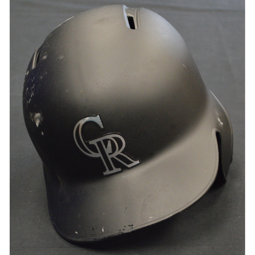 "Photo of Ian ""Desi"" Desmond Colorado Rockies Game-Used 2019 Players' Weekend Helmet"
