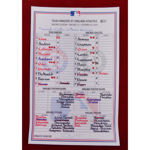 Game-Used Line-Up Card - September 20, 2019 - Texas Rangers @ Oakland Athletics