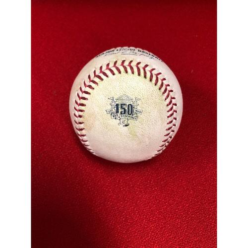 Nick Senzel MLB Debut -- Game-Used Ball -- Michael Lorenzen to Brandon Belt (Pop Out); to Evan Longoria (Single) -- Top 7 -- Giants vs. Reds on 5/3/2019