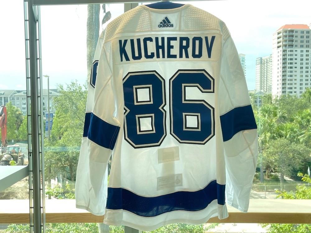 #86 Nikita Kucherov Tampa Bay Lightning 2021 Stanley Cup Final Game-Worn Jersey
