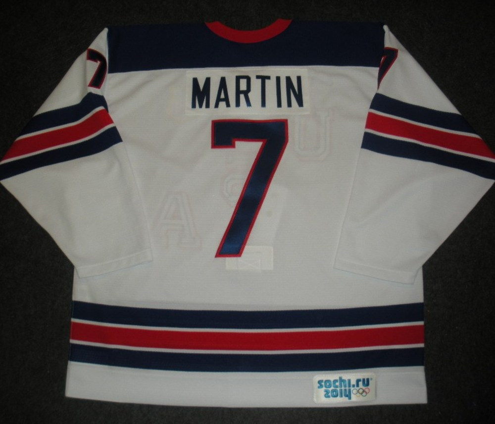 Paul Martin - Sochi 2014 - Winter Olympic Games - Team USA Throwback Game-Worn Jersey - Worn in Warmups and 1st Period vs. Slovenia, 2/16/14