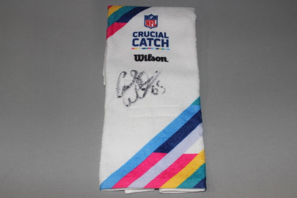CRUCIAL CATCH - BEARS CODY WHITEHAIR SIGNED AND GAME ISSUED CRUCIAL CATCH TOWEL (OCTOBER 15, 2017)