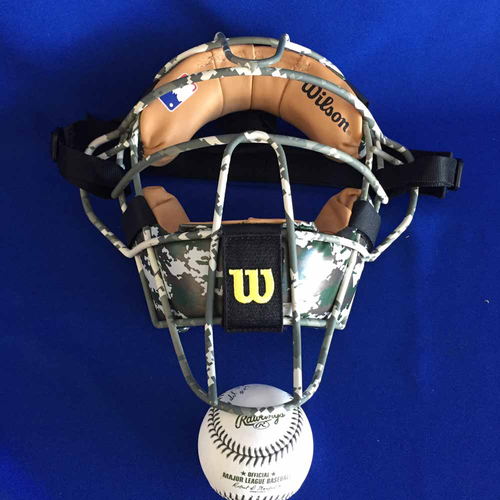 1236c0a2068 UMPS CARE AUCTION  2017 Memorial Day Crew Signed Plate Mask and Green  Thread Baseball -