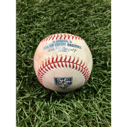 Photo of 20th Anniversary Game Used Baseball: Kole Calhoun strike out, Justin Upton double and Albert Pujols foul ball off Hunter Wood - August 2, 2018 v LAA