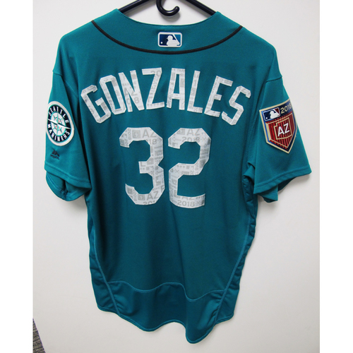 Photo of Seattle Mariners Marco Gonzales Team Issued 2018 Spring Training Green Jersey