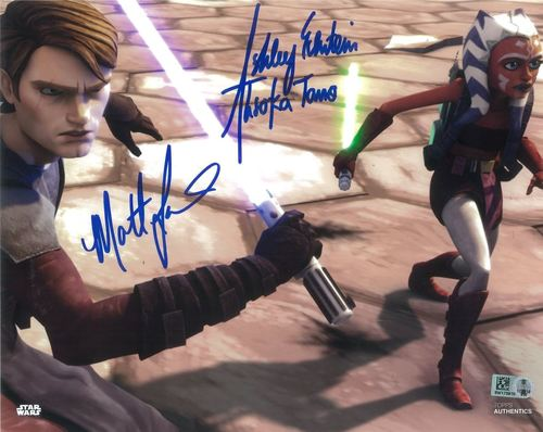 Matt Lanter and Ashley Eckstein As Anakin Skywalker and Ahsoka Tano 8x10 Autographed in Blue Ink Photo