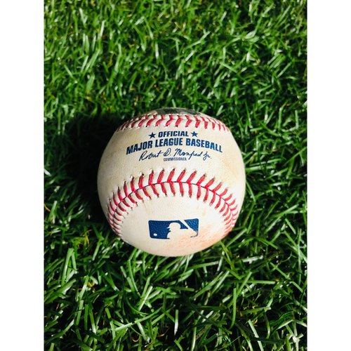 Game Used Baseball: Justin Smoak strikeout and Vladimir Guerrero Jr. foul ball off Charlie Morton - August 5, 2019 v TOR
