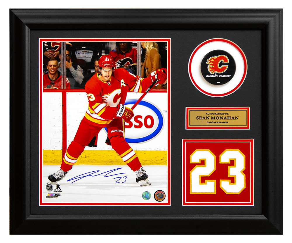 Sean Monahan Calgary Flames Signed Retro Franchise Jersey Number 19x23 Frame