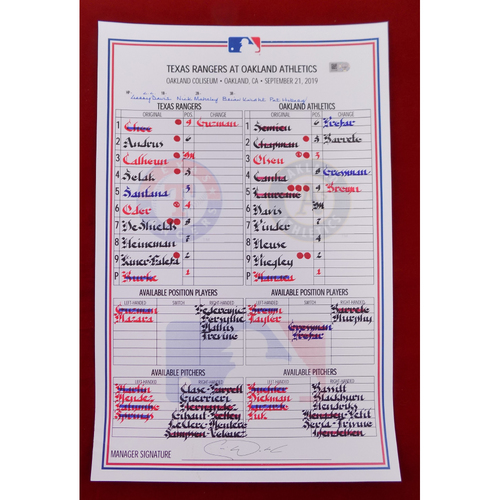 Photo of Game-Used Line-Up Card - September 21, 2019 - Texas Rangers @ Oakland Athletics