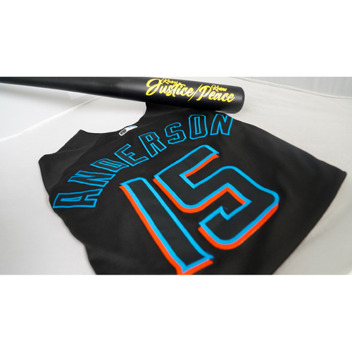 """Photo of Brian Anderson Game-Used Jersey with Specialty """"Know Justice"""" Bat Designed by Sergio j. Quinonez - @illsurge - Jersey Size 44"""