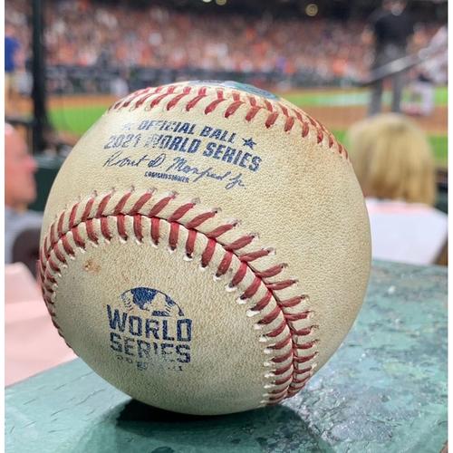 Photo of 2021 World Series - Atlanta Braves vs. Houston Astros - Game 1 - Pitcher: Phil Maton, Batters: Austin Riley/Eddie Rosario - Top 7, Strikeout Swinging/Double to LF