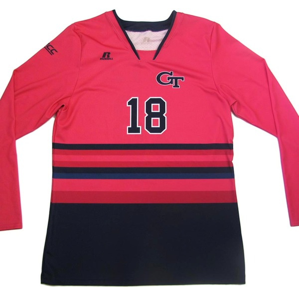 Photo of Georgia Tech 2016 Women's Volleyball Pink #18 Game Worn Jersey (XXL)
