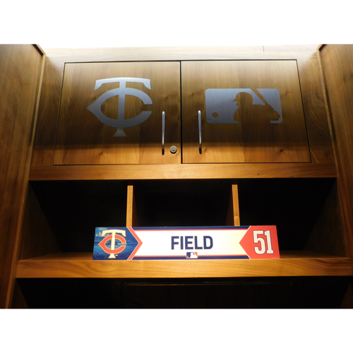 Photo of 2018 Johnny Field Game-Used Locker Name Plate
