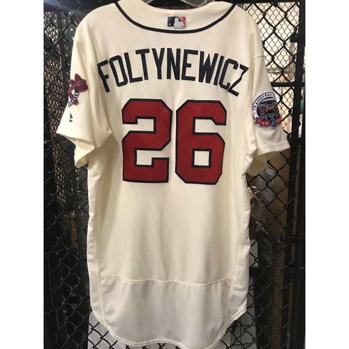 Photo of Mike Foltynewicz Game-Used Ivory Jersey - SunTrust Park Inaugural Season Patch - 5/6/17