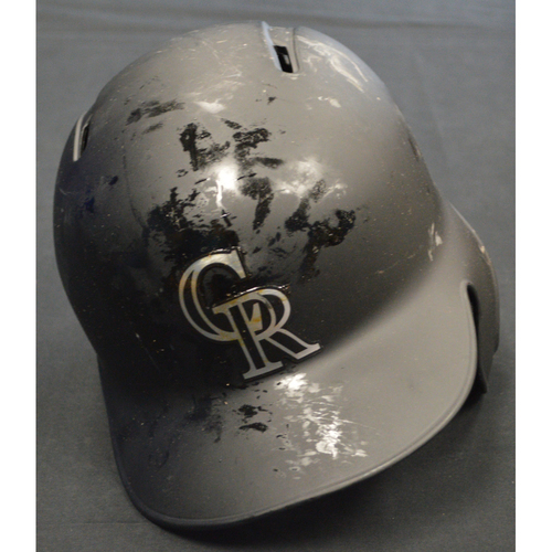 "Photo of Yonathan ""Canana"" Daza Colorado Rockies Game-Used 2019 Players' Weekend Helmet"