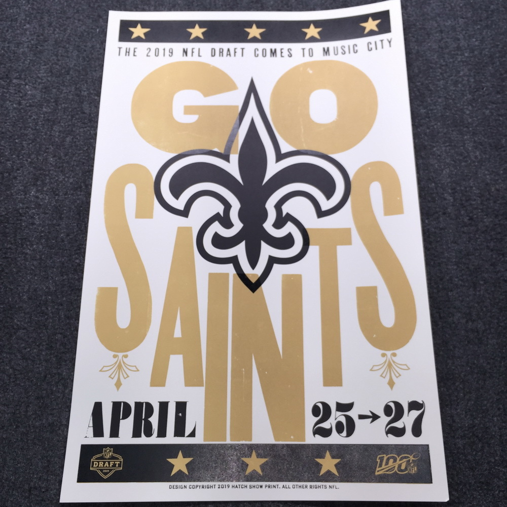 NFL - Saints Limited Edition Original Hatch Show Print 2019 NFL Draft Poster