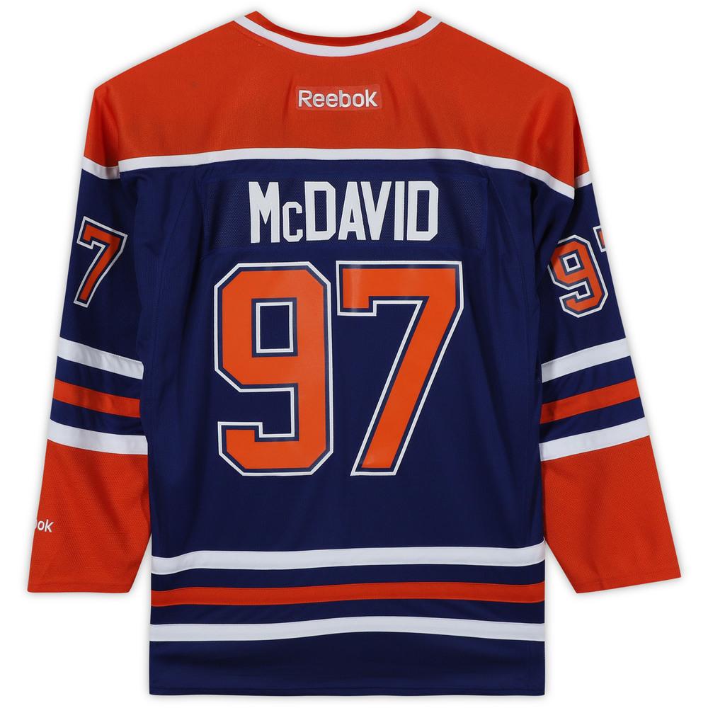 Connor McDavid Edmonton Oilers Unsigned Blue Reebok Premier Jersey