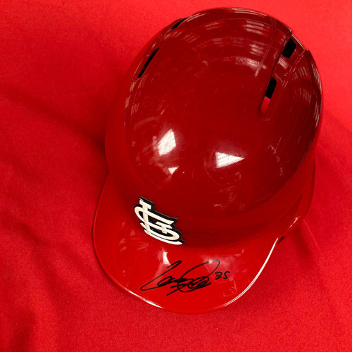 Photo of Lane Thomas Autographed Team-Issued Red Batting Helmet