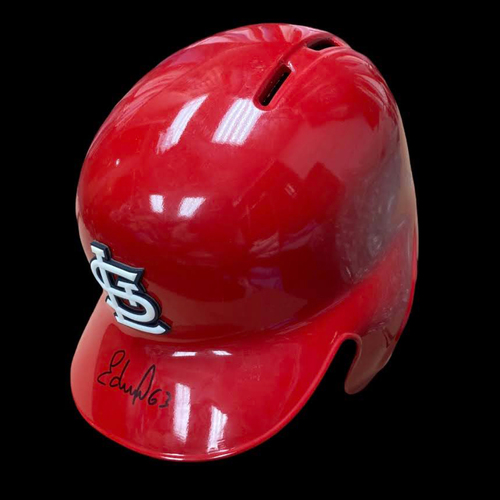 Photo of Edmundo Sosa Autographed Team Issued Red Batting Helmet (Size 7 3/8)