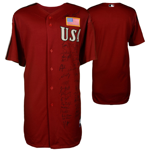 Photo of 2004 Team USA Autographed Red Futures Game Jersey with 30+ Signatures