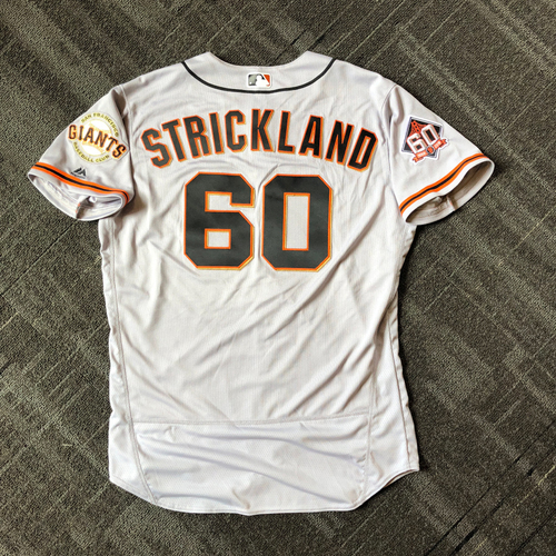 Photo of San Francisco Giants - Mother's Day Game-Used Jersey - #60 Hunter Strickland - 1.0 IP, 1 K (size 48)