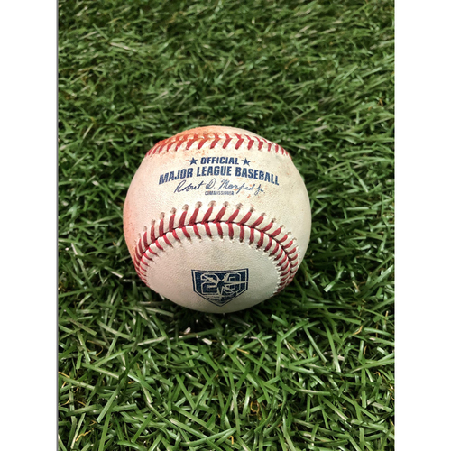 Photo of 20th Anniversary Game Used Baseball: Ryan Yarbrough strikes out Reese McGuire - First MLB Season - September 30, 2018 v TOR