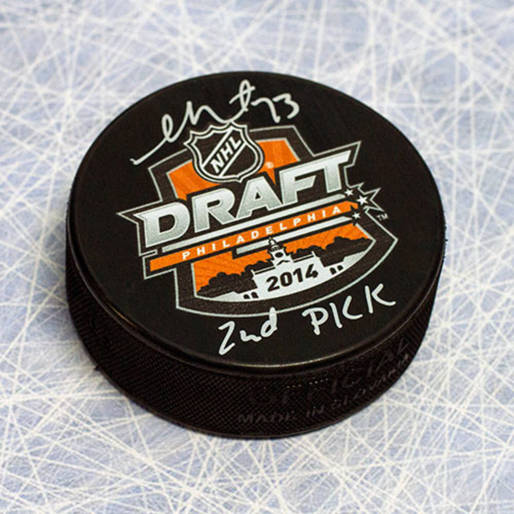 Sam Reinhart Autographed 2014 NHL Draft Day Puck w 2nd Pick Inscription *Buffalo Sabres*