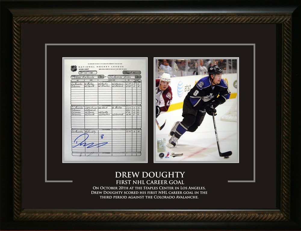 Drew Doughty - Signed & Framed First NHL Goal Tribute - Featuring Signed Scoresheet & 8x10