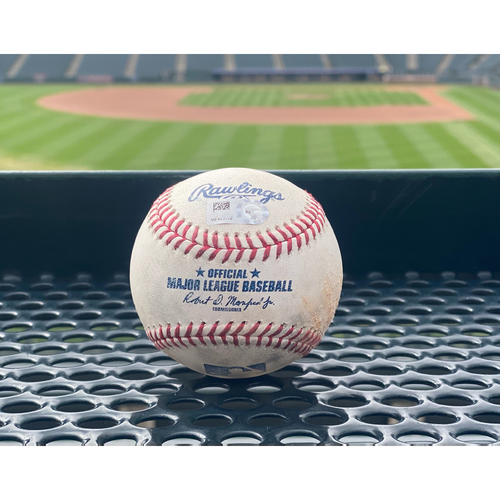 Photo of Game-Used Baseball - Pitcher: Wade Miley, Batter: German Marquez (Double (1) to Shogo Akiyama) - May 14, 2021