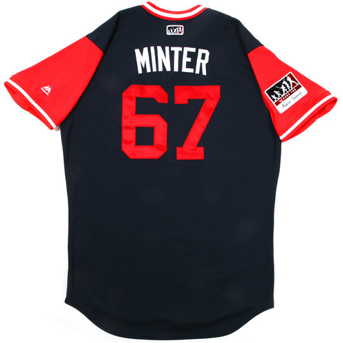 "Photo of A.J. ""Minter"" Minter Atlanta Braves Game-Used Players Weekend Jersey"