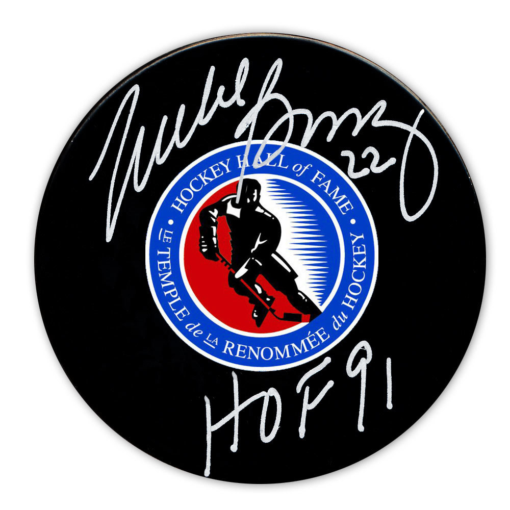 Mike Bossy Hockey Hall of Fame HOF Autographed Puck