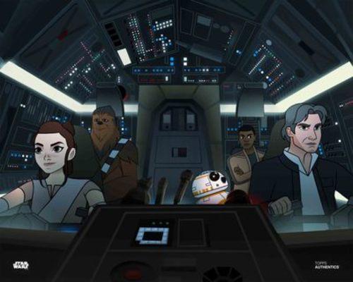 Rey, Han Solo, Finn and Chewbacca