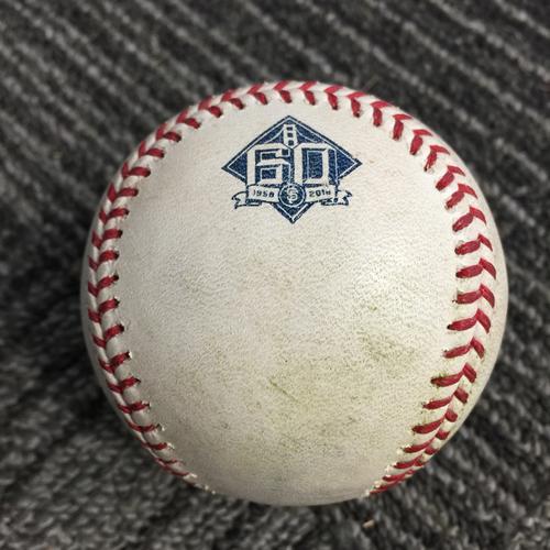 Photo of 2018 San Francisco Giants - Game Used Baseball vs. Los Angeles Dodgers on 9/29/18 - Chris Taylor RBI Single & Matt Kemp Single
