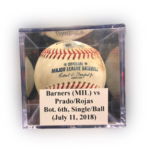 Photo of Game Used Baseball: Barnes (MIL) vs Prado/Rojas, Bot. 6th, Single (Prado)/Ball (Rojas) - July 11, 2018