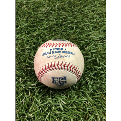 Photo of 20th Anniversary Game Used Baseball: Nick Ciuffo strike out and Mallex Smith double off Oliver Perez - September 10, 2018 v CLE